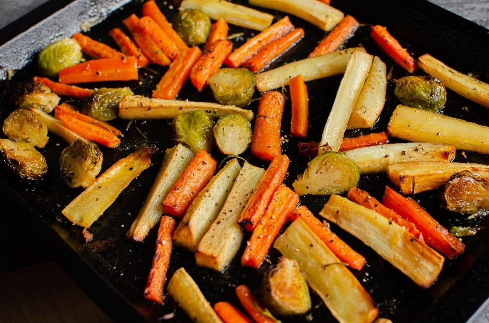 Roasted Vegetables with Maple & Rosemary Glaze perfectly cooked in oven