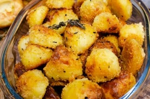 Roast potatoes in a glass bowl