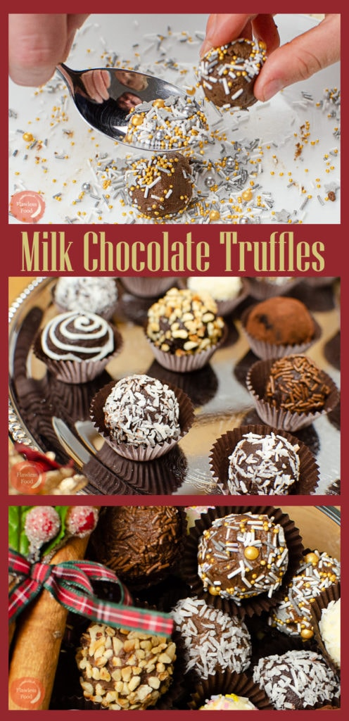 Collage pictures of our milk chocolate truffles