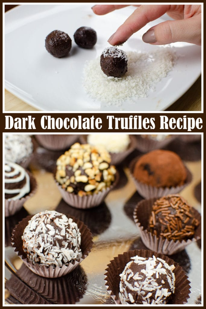 Collage of pictures of our Dark Chocolate Truffles