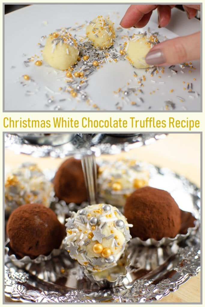 Collage of pictures of our White chocolate truffles