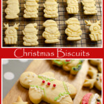 Collage of pictures of our Iced Christmas Biscuits