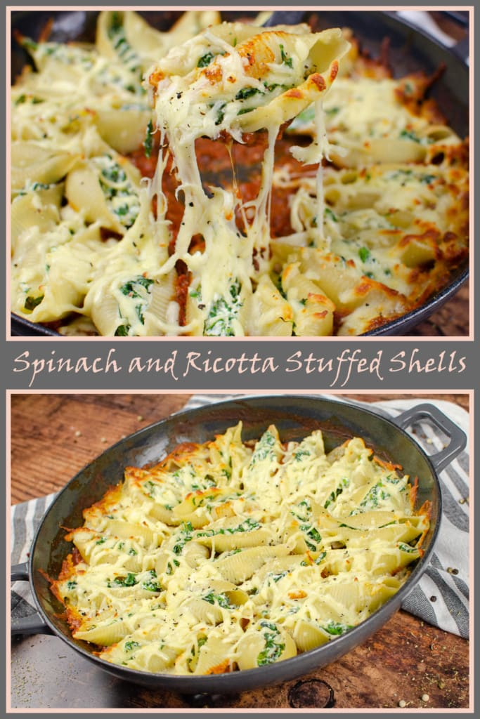 Collage of pictures of our Spinach and Ricotta stuffed shells for Pinterest