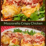 Collage of pictures of our Mozzarella crispy chicken for pinterest