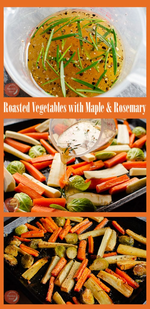 Collage pictures of our roasted vegetables with maple and rosemary glaze