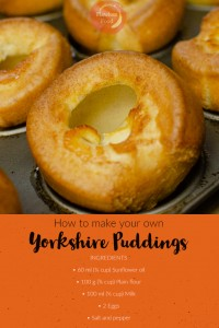 Step by step guide with ingredients for yorkshire puddings