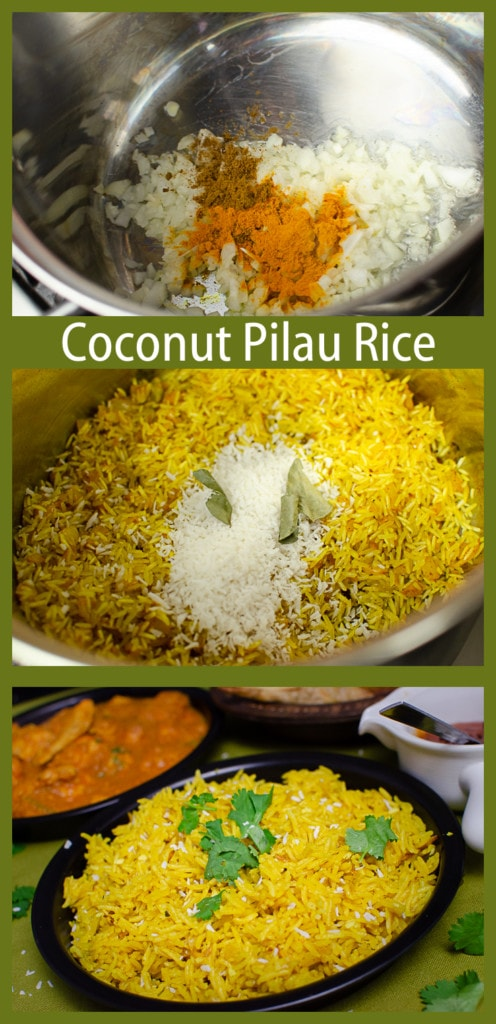 Collage of pictures of how we made our Coconut Pilau Rice