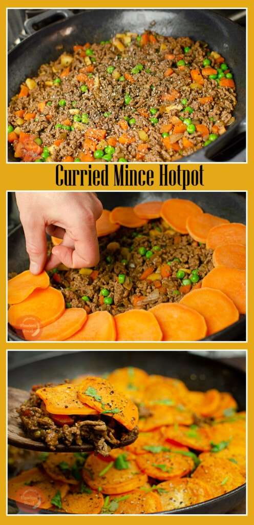 Collage of pictures of our Curried Mince Hotpot