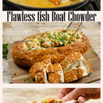 Collage of pictures of our Flawless Fish Boat Chowder
