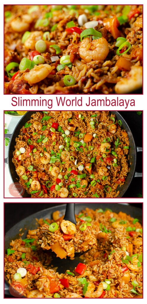 Collage pictures of our Pork and Prawn Jambalaya