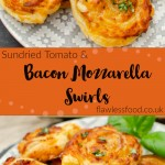Sundried Tomato and Mozzarella Bacon Swirls images for pinterest