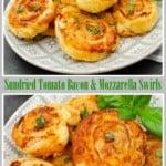 Sundried tomato Bacon & Mozzarella Swirls pin image