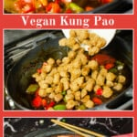 Collage of pictures of our Vegan Kung Pao for pinterest