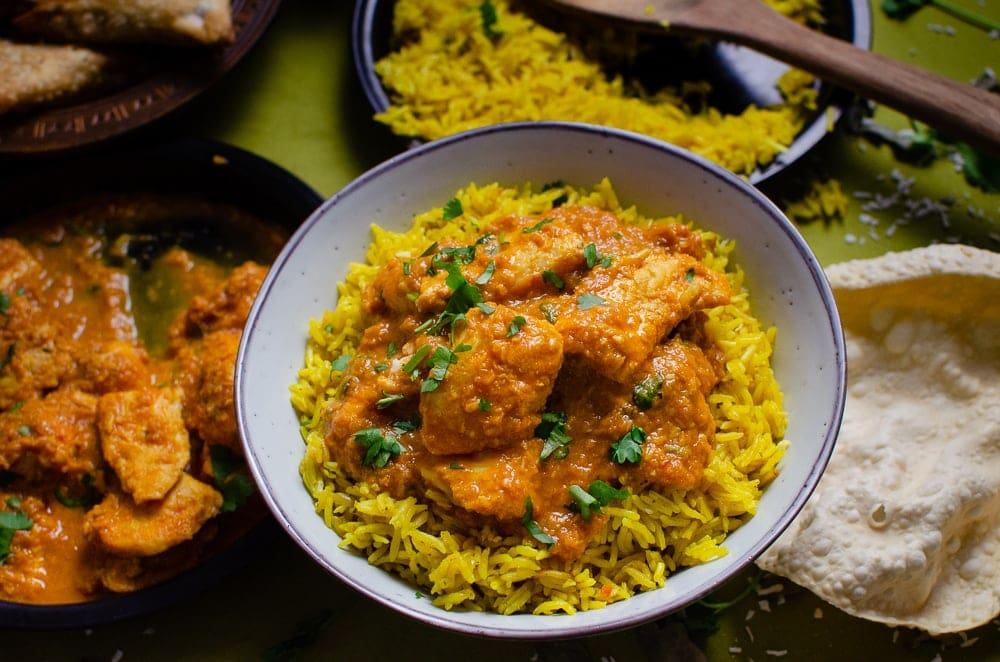 basa fish curry served up on coconut rice