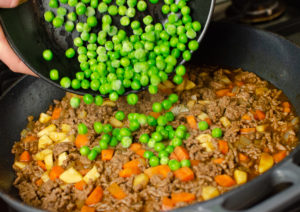 peas added to mince