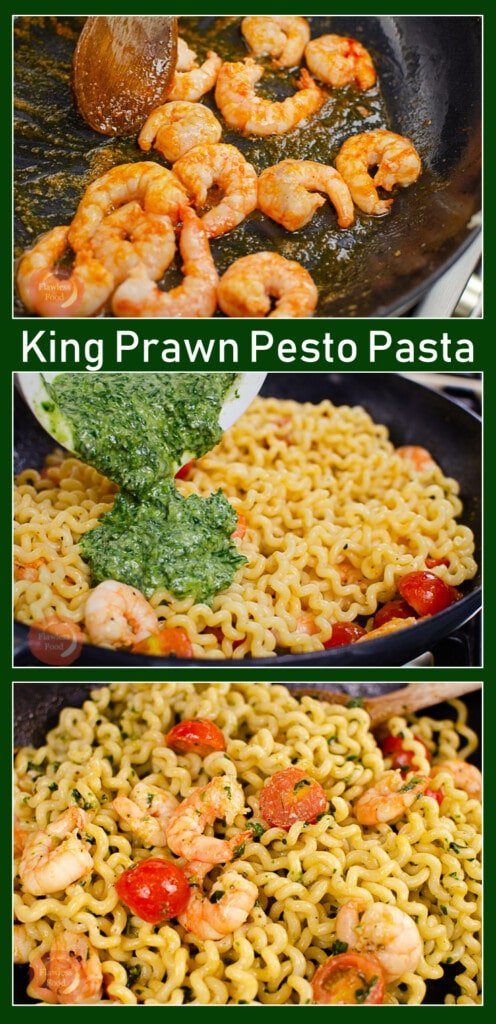 pinterest image of king prawn pesto being created and served with Fusilli Lunghi pasta