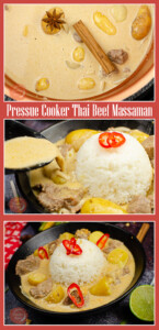 Collage pictures of our Pressure cooker Thai Beef Massaman