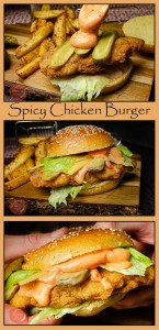 Collage pictures of our Spicy Chicken Burger