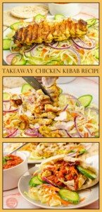 Collage pictures of our Takeaway chicken kebab recipe for pinterest