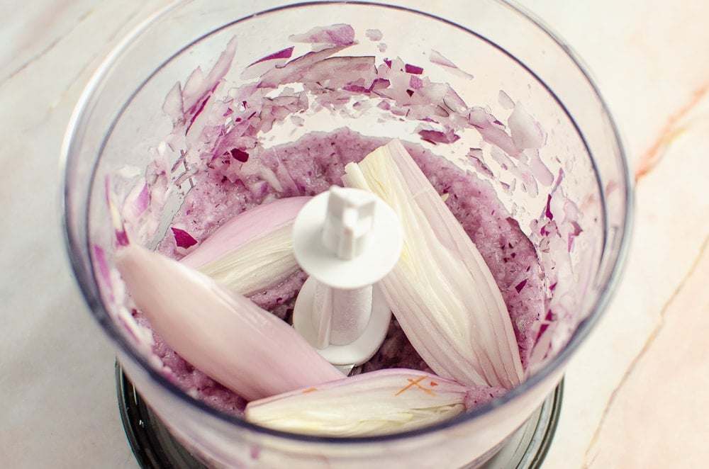 Blended red onion and shallots added to the blender