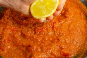 A squeeze of lemon added to the sauce