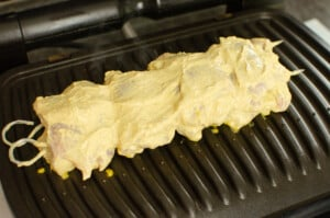 Chicken kebab on out tefal optigrill ready to be cooked