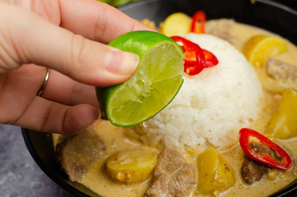 Squeeze of lime on our massaman curry