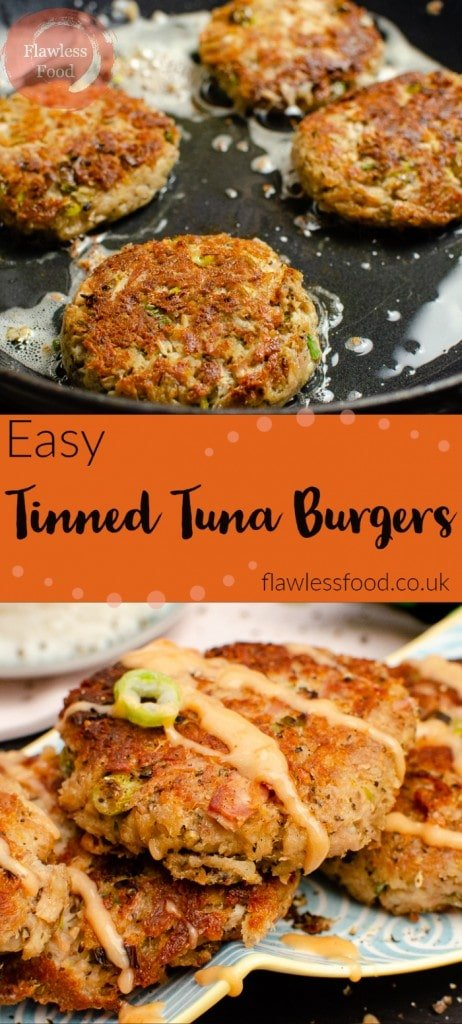 Collage of pictures of our easy tinned tuna burgers