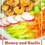 Pin image of our Honey and Garlic Prawn Poke Bowl