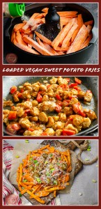 Collage pictures of our Loaded Vegan Sweet Potato Fries