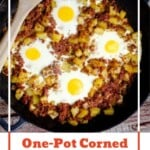 Pin image of our One Pot Corned Beef Hash in a cast iron dish and a wooden spoon to serve with