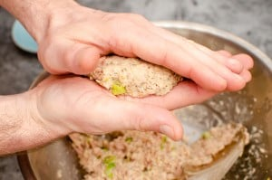 Shaping the tuna burgers by hand