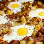 One-pot Corned Beef Hash served with eggs