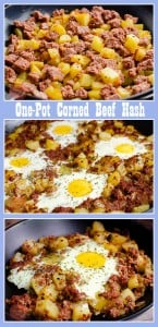 Collage pictures of our One-pot Corned Beef Hash