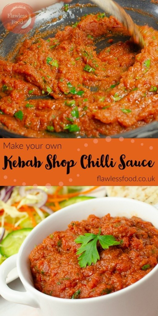 Kebab Shop Chilli Sauce for pin image being made and served in white dish