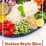 Pin image of our Italian Style Rice Salad served on a blue plate