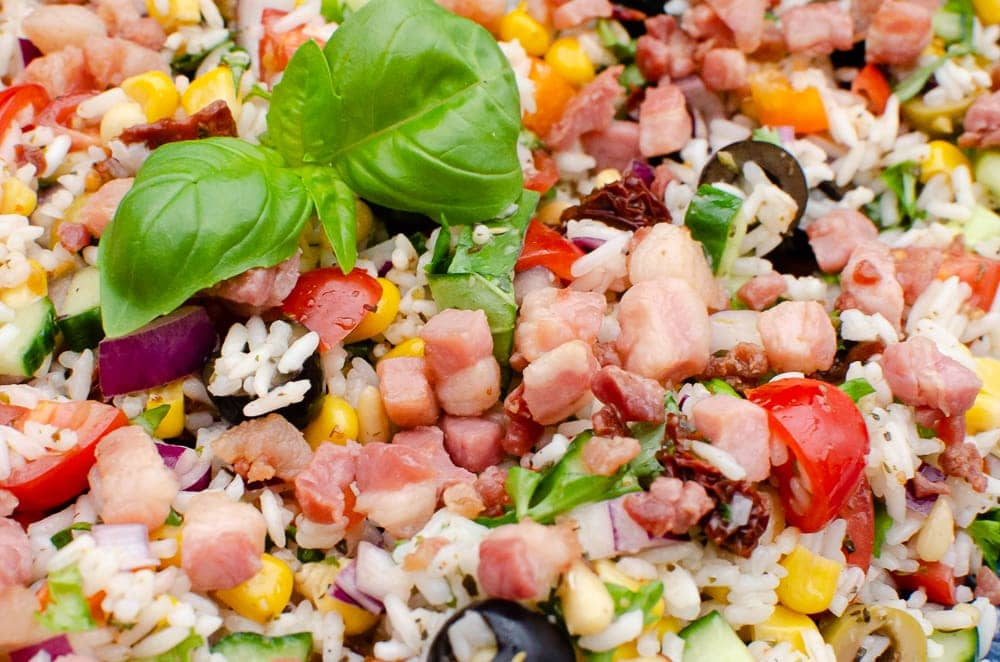 Pancetta served on top of our Italian rice salad
