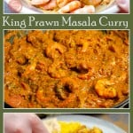 Pin image of our King Prawn Masala being cooked and being dipped in with naan bread by hand