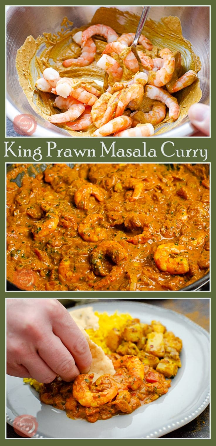 Pin image of King Prawn Masala Curry showing the process of making Curry
