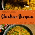 Collage pictures of our Pressure cooker chicken biryani
