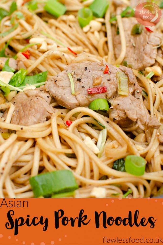 Asian Spicy Pork Noodles image for pinterest