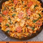 Chorizo and Tomato Pappardelle Pasta image for pinterest
