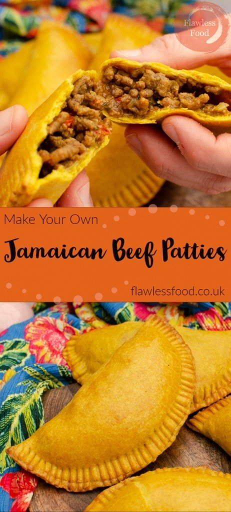 Collage pictures of our Jamaican Beef Patties for pinterest