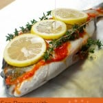 Collage picture of our Sea Bream with Garlic and Chilli for pinterest