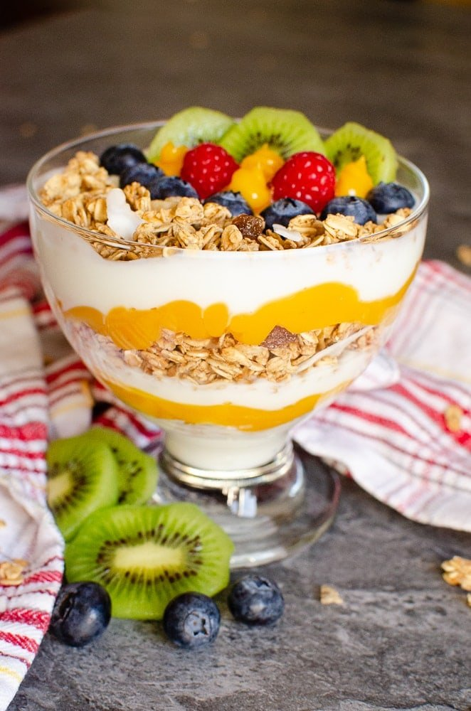 Tropical Granola Yoghurt with Fruit in a glass bowl