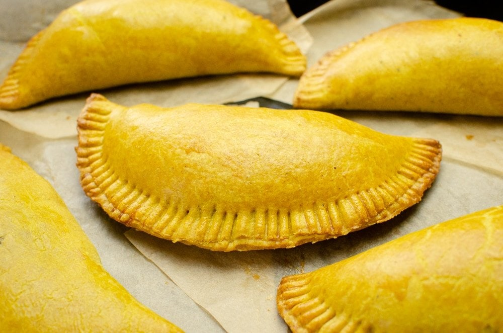 Jamaican Beef Patties on parchment paper