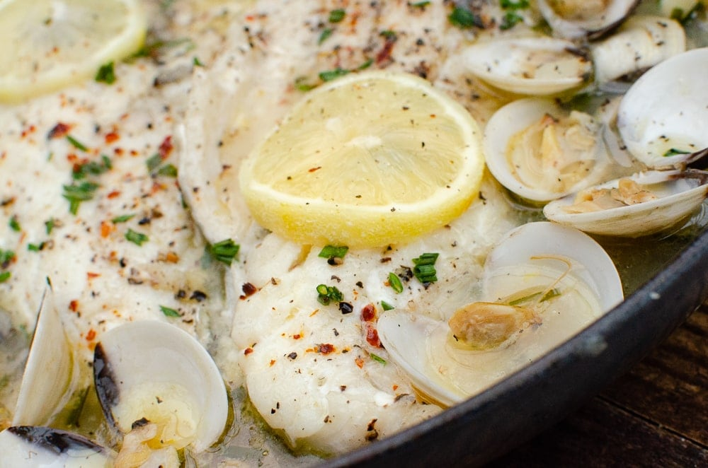 Haddock and Clams in Garlic and Wine Sauce
