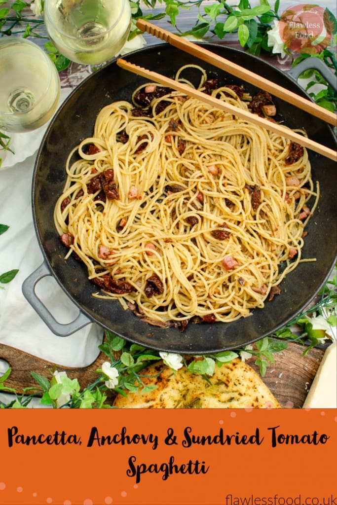 Pancetta Anchovy and sundried tomato spaghetti pin image
