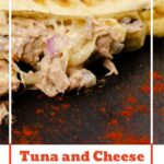 Pin image of our Tuna and Cheese Melt Panini served on black slate with paprika sprinkled on the slate