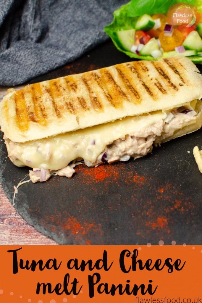 pin image of tuna & cheese melt
